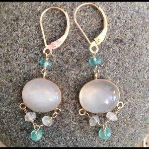 14KY Rose Quartz Chandelier Earrings